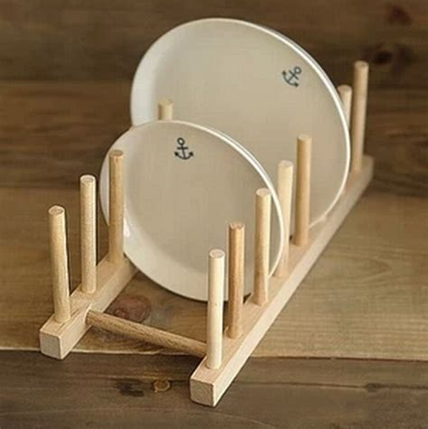 kitchen dish plate rack holder stand wooden wood plates drying storage shelf   wooden