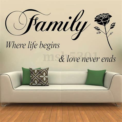 home decor stickers removable quote family lettering wall stickers vinyl