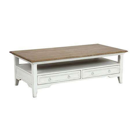 table basse rectangulaire 2 tiroirs blanc interior s