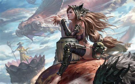 Woman with Dragon Wallpaper