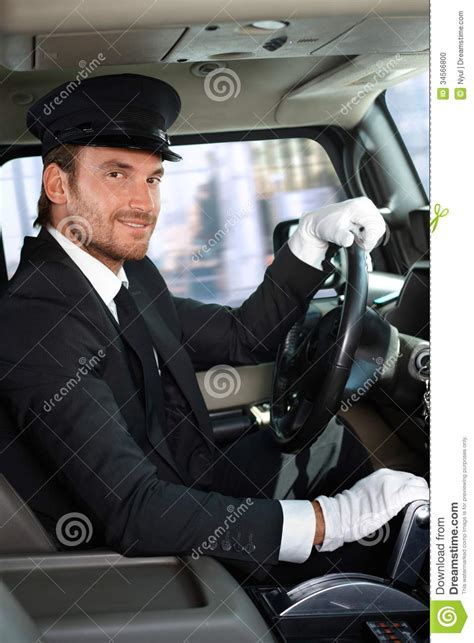 young chauffeur  limousine smiling stock photo image