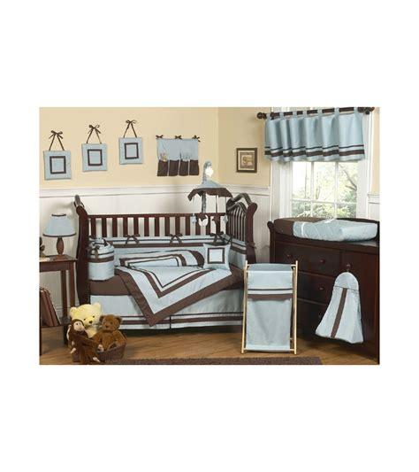 1744 sweet jojo crib bedding sweet jojo designs hotel blue brown 9 crib bedding set