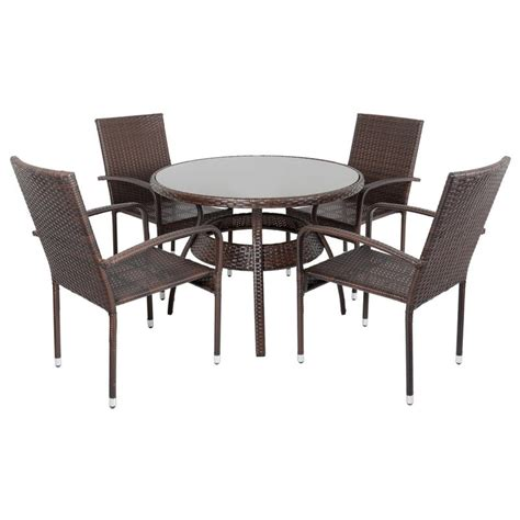 bamboo table and chairs brown ravenna rattan wicker garden dining table set with 4