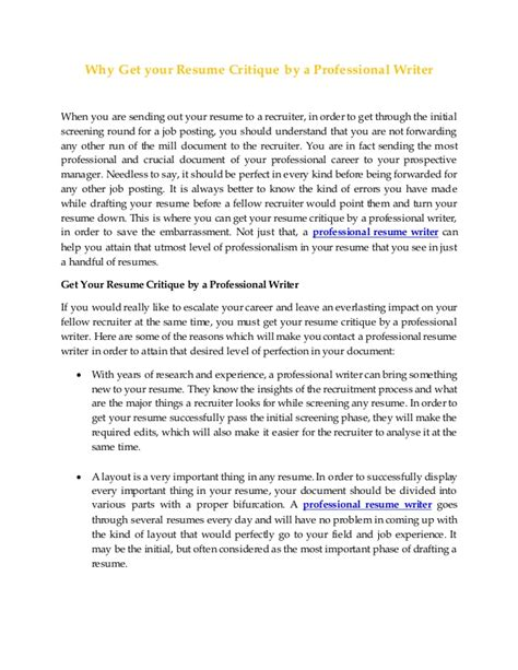 Resume Critique by Why Get Your Resume Critique By A Professional Writer