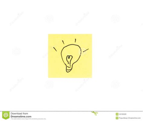 light bulb in post it note stock illustration image