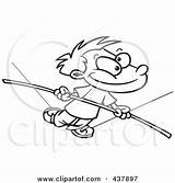 Tight Rope Outline Clip Walking Boy Cartoon Illustration Royalty Rf Dilemma Across Coming Woman Toonaday Danger Clipart sketch template
