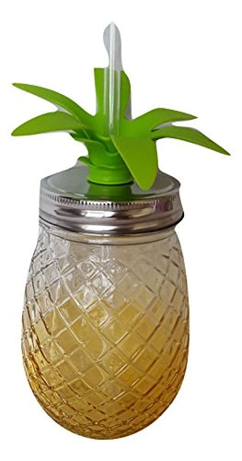 Pineapple Shaped Yellow Tinted Glass Mason Jar Sipper w