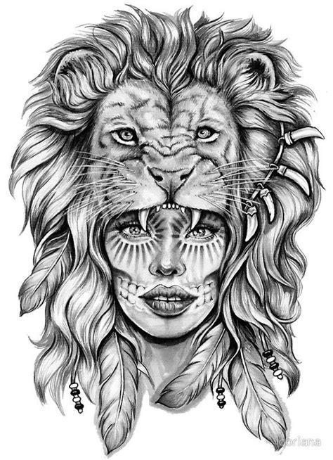 girl  lion head sticker heads  tattoo ideen