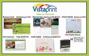 27 for 70 worth of custom printed vistaprint products for Vista prints free business cards