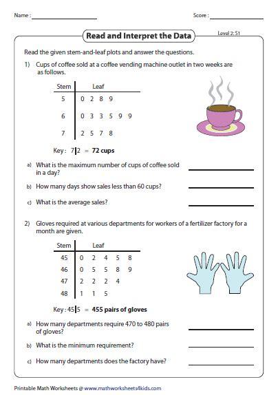 stem  leaf plot worksheets worksheets
