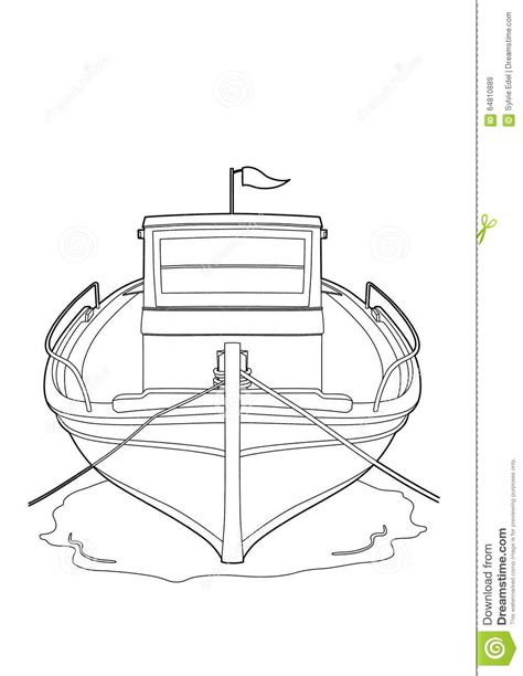 How To Draw A Fishing Boat Step By Step by Drawing Of A Fishing Boat Stock Vector Illustration Of