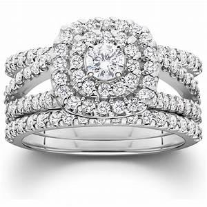 1 14ct Diamond Engagement Cushion Halo Wedding Ring Trio