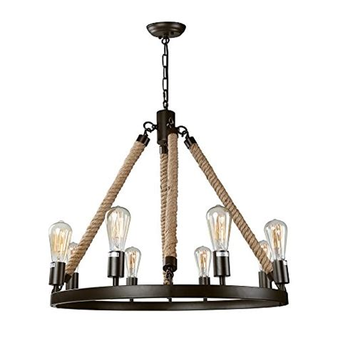 rustic kitchen chandelier lnc vintage chandeliers 8 light metal rope rustic pendant