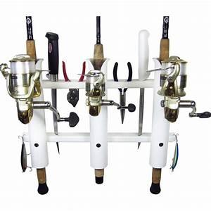 3 Rod Deluxe Fishing Rod Holder Rack White