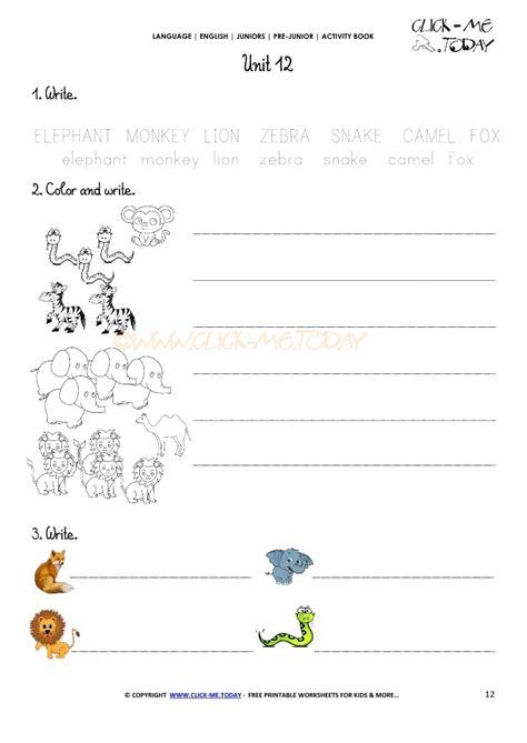 Free Printable Beginner Esl Prejunior Worksheet 12 Animals
