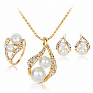 2017 new simulated pearl wedding schmuck jewelry sets With parure bijoux pour mariage