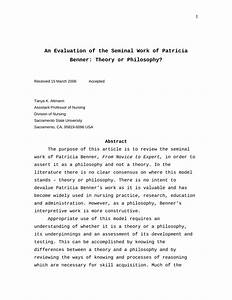 (PDF) An evaluation of the seminal work of Patricia Benner ...