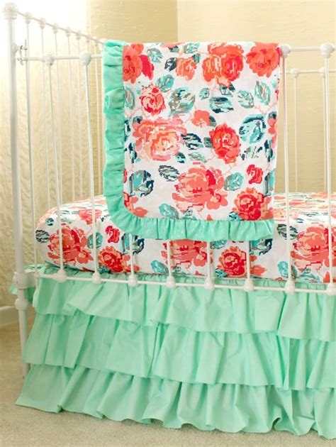 Coral And Mint Crib Bedding by Pixie Park Coral Mint And Navy Baby Bedding Custom Baby