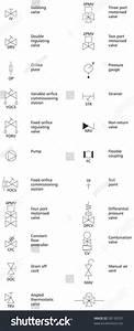 Schematic Pump Valve Symbols Stock Vector 58130701