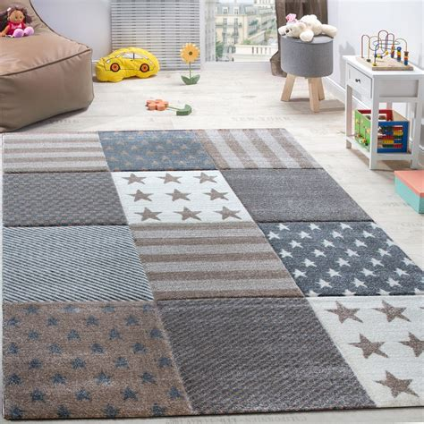 vloerkleed voor de kinderkamer sterren geruit tapijt