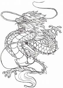 Classic Black Outline Chinese Dragon Tattoo Design ...