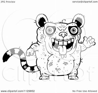Ugly Lemur Waving Cartoon Coloring Clipart Outlined
