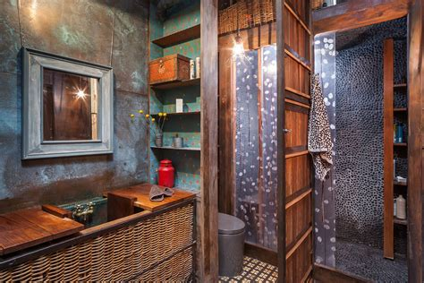 black and blue bathroom decor industrial beach decor bathroom industrial with black pebble tiles copper wall