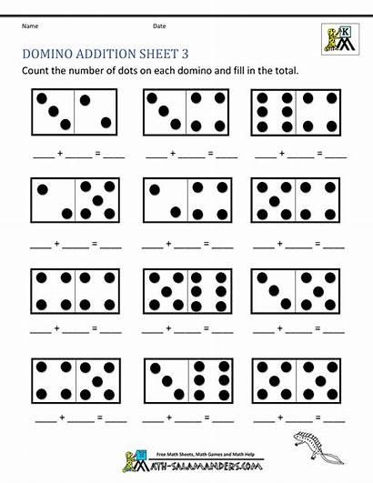 Math Worksheets Addition Kindergarten Printable Domino Sheet
