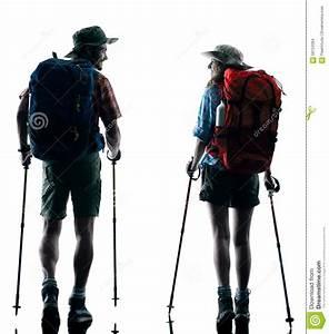 Couple Trekker Trekking Nature Silhouette Walking Stock ...