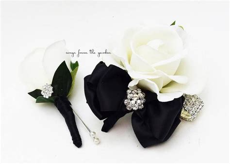 Black and White with Rhinestones Real Touch Rose Wedding
