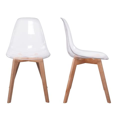 chaises transparentes fly chaise stokholm transparente pieds bois lot de 2 chaise