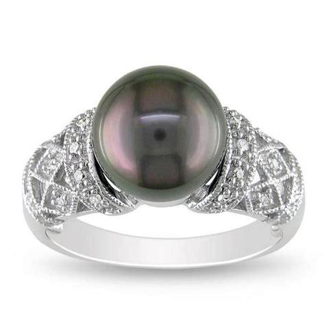 Shop Miadora K White Gold Tahitian Black Pearl And