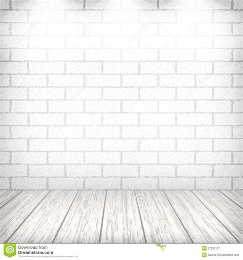 white brick floor white brick wall with wooden floor royalty free stock photography image 27533137