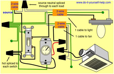 wiring for a ceiling exhaust fan and light electrical