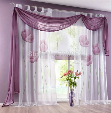 new design floral printing ready made sheer window curtain
