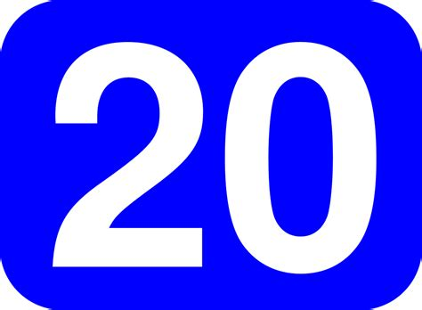 20 White, Blue Rounded Rectangle.svg