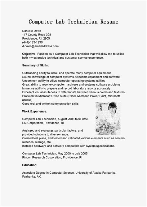 Resume Sle For Computer Technician by Resume Sles Computer Lab Technician Resume Sle