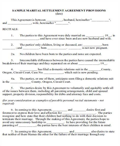 marital settlement agreement template 6 divorce agreement sles sle templates