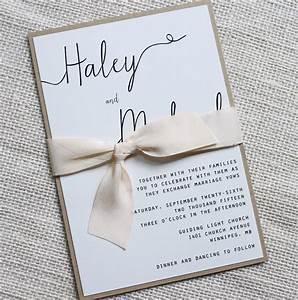 Modern wedding invitation simple wedding invitation rustic for Simple wedding invitations with pictures