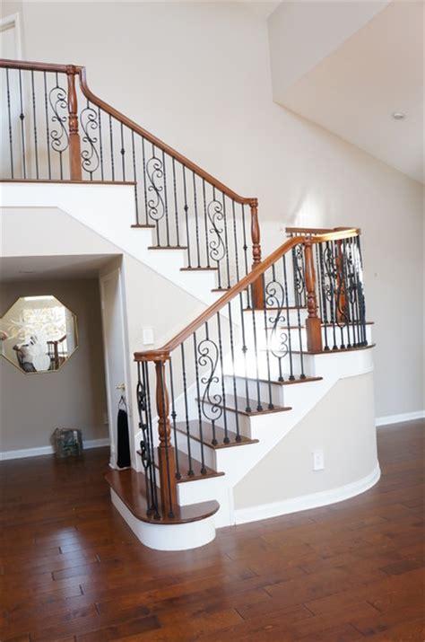 wood  iron railings traditional staircase orange
