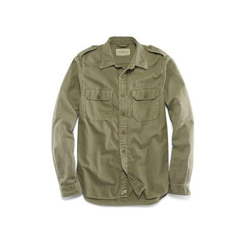 buttoned sleeve t shirt lyst denim supply ralph woven cotton