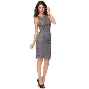 macys wedding rings papell sleeveless lace sheath in gray charcoal lyst