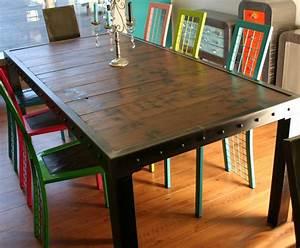 Table à Manger Bois Et Métal : table a manger metal et bois ~ Teatrodelosmanantiales.com Idées de Décoration