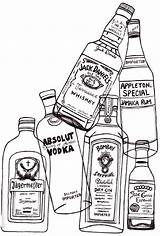 Bottles Glass Liquor Drawing Bottle Alcohol sketch template