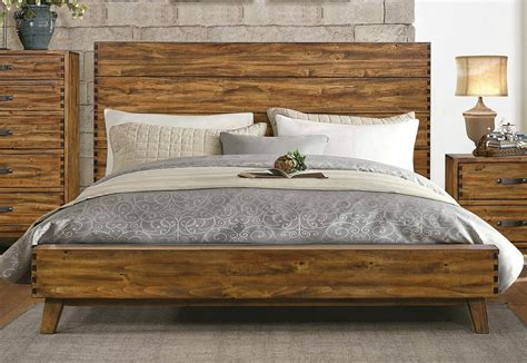 Menter Rustic Finish Platform Bed