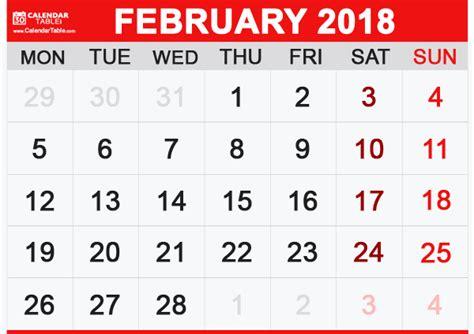 printable february calendar calendar table