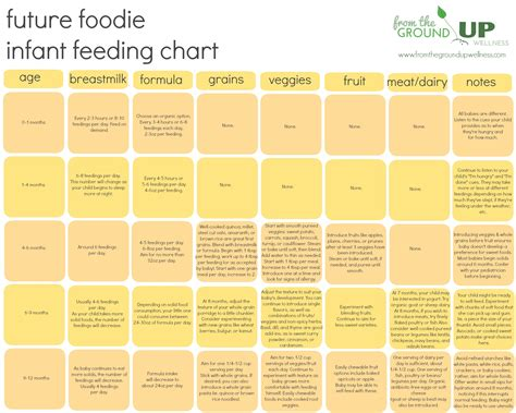 Infant Feeding Chart When To Introduce Which Foods To