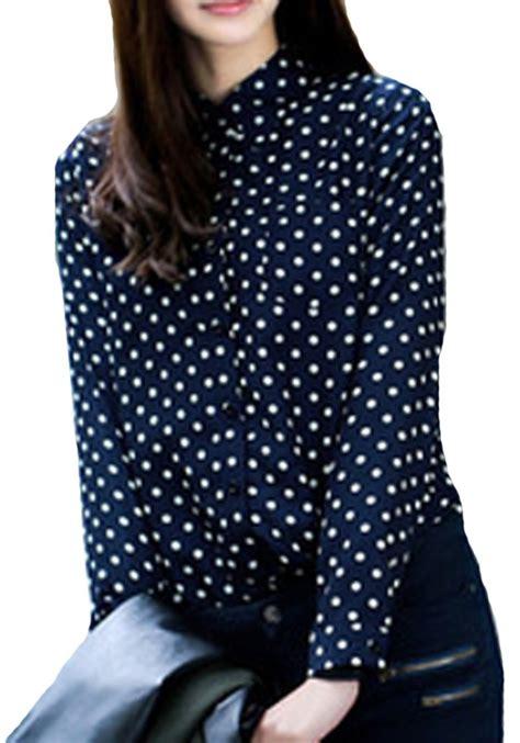 polka dot blouses navy blue polka dot sleeve chiffon blouse blouses