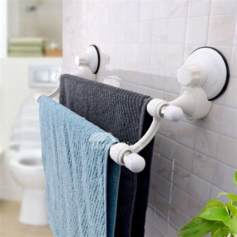 modern suction cup double layer stainless steel towel rack