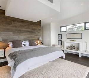 Modern Master Bedroom With Wooden Cladding Modern Master